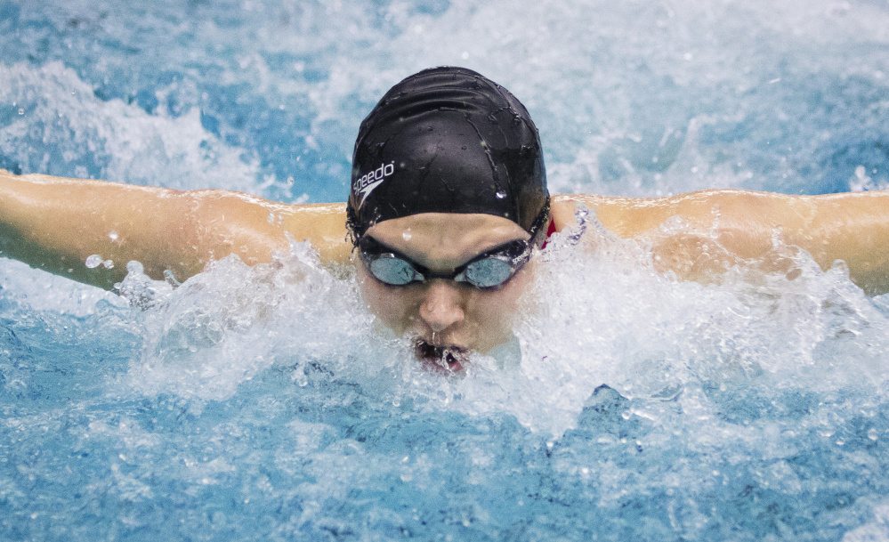 Caitlin Tycz of Brunswick just missed her own state record in the 100-yard butterfly at the Class A state championships but did set a record in the 200 freestyle – one of four events in which she swam the fastest time in the state this season.
