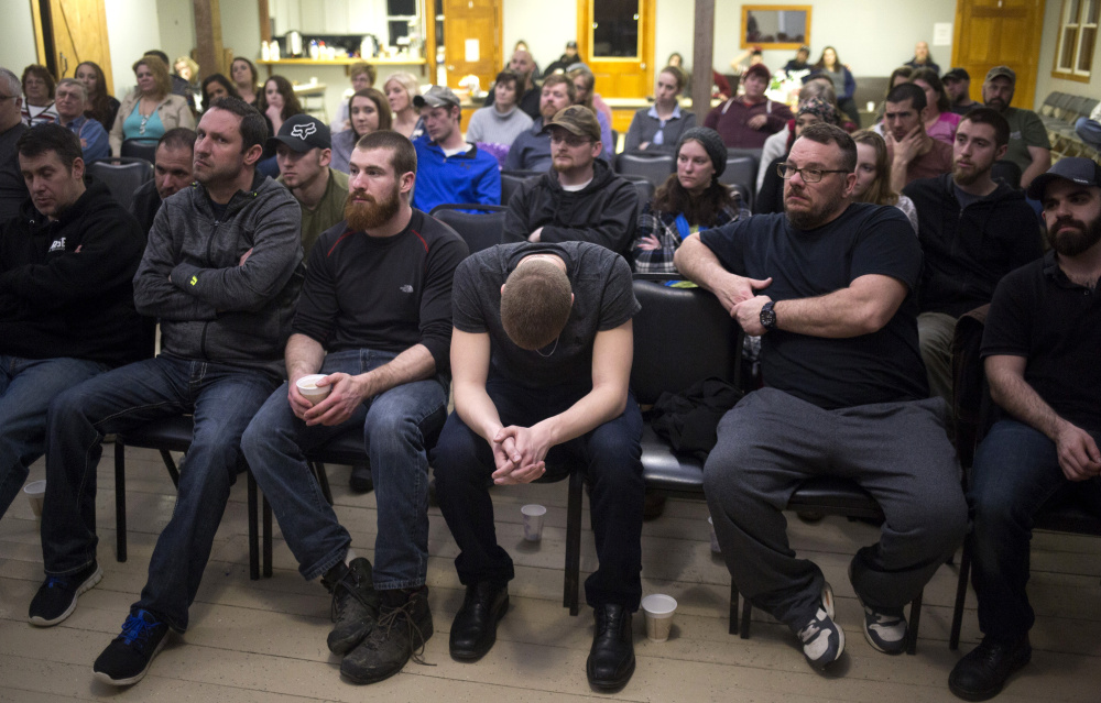 COMING TOGETHER: A well-attended community meeting at Machias Christian Fellowship in Down East Maine features a speech by a former addict describing his path to sobriety. Church groups and activists have taken lead roles in addressing Maine's opioid epidemic.