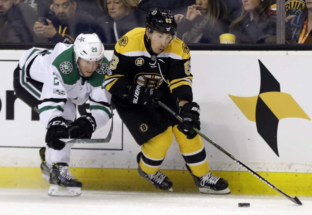 Brad Marchand was suspended for the final two games of the regular season, including a shootout loss against Ottawa. The Bruins' leading scorer will be back in the lineup for the playoff opener Wednesday night.
