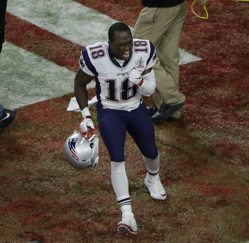 New England's Matthew Slater shows his emotions after the Patriots won Super Bowl LI on Feb. 5 in Houston. And he still gets excited seeing it on video.