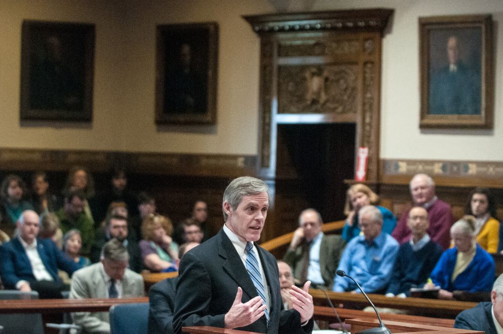 Timothy Woodcock of the Bangor law firm Eaton Peabody argues Thursday on behalf of the Maine Senate during the state Supreme Court hearing in Augusta.