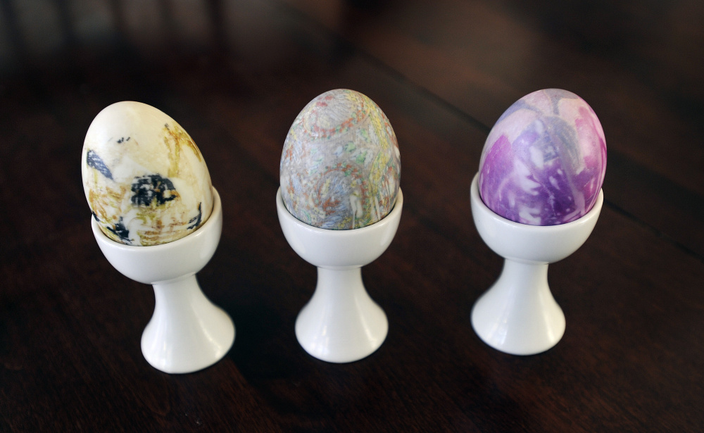 Painted duck eggs for Easter.