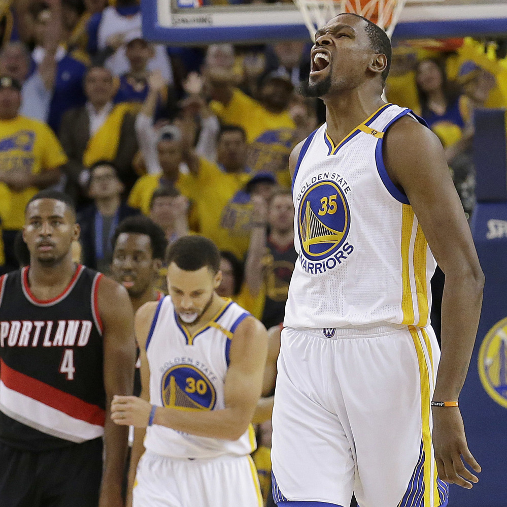 Golden State forward Kevin Durant scored 32 points and grabbed 10 rebounds as the Warriors beat Portland 121-109 Sunday in Oakland, California, in Game 1 of their Western Conference first-round series.