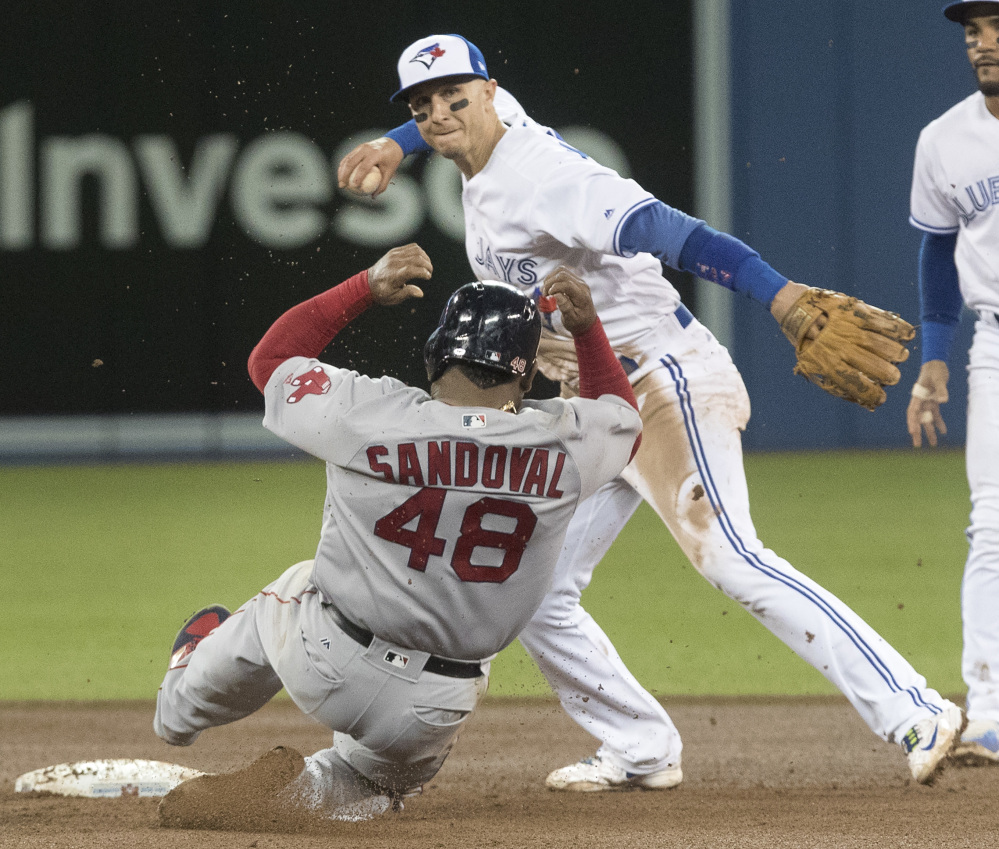 Boston's Pablo Sandoval is out at second base on the forceout as Toronto's Troy Tulowitzki turns the double play in the fifth inning Wednesday night in Toronto.