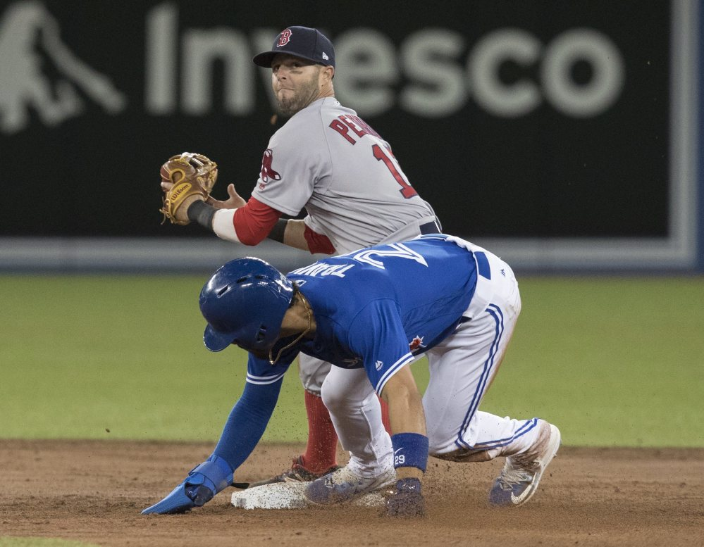 Toronto's Devon Travis slides in safely at second base as Boston second baseman Dustin Pedroia fields the throw in the third inning.
