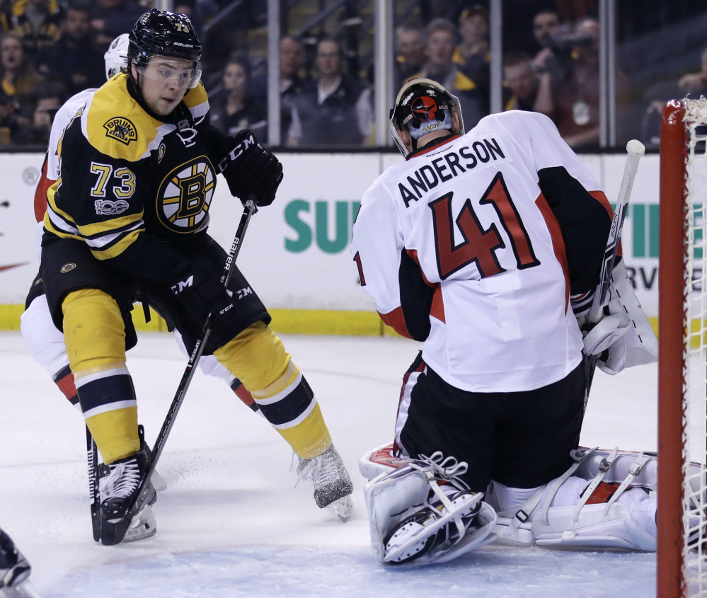Craig Anderson of the Ottawa Senators may not be the high-quality goalie the Boston Bruins have faced in past playoffs, but he's getting the job done in this series, helped by Boston failing to take advantage of rebounds.