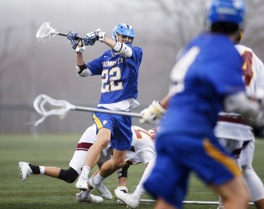 Nick Farnham of Falmouth gets free for a shot in the third quarter of the Yachtsmen's 9-8 win over Cape Elizabeth on Wednesday in Cape Elizabeth.