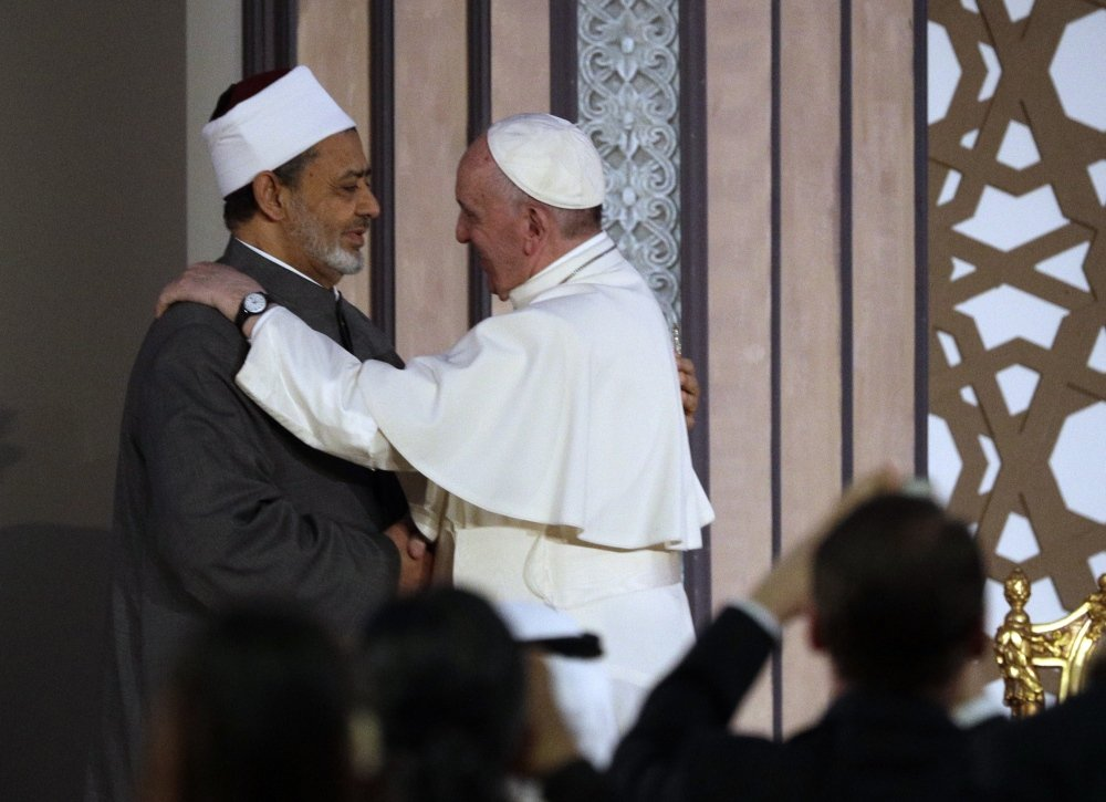 Pope Francis meets Sheikh Ahmed el-Tayeb, Al-Azhar's grand imam, Friday in Cairo. He was in Egypt to present a united Christian-Muslim front against religiously inspired violence.