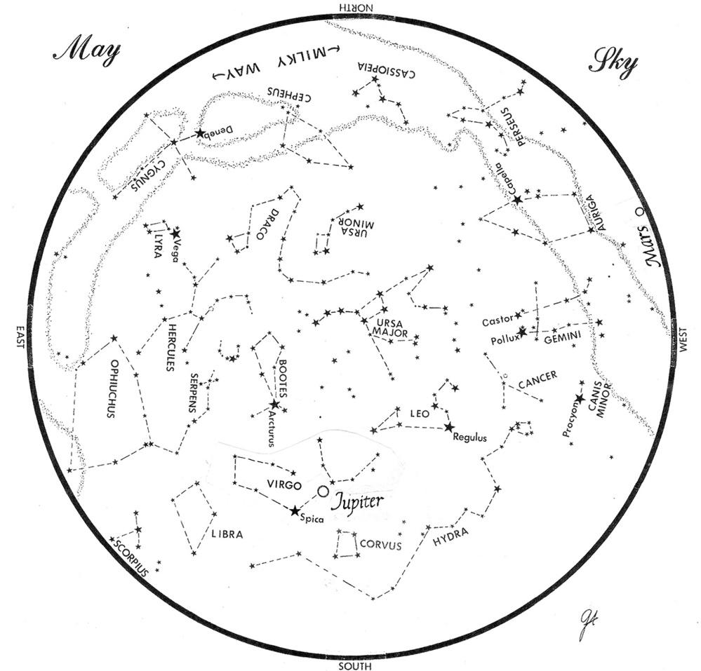 SKY GUIDE: This map represents the sky as it appears over Maine during May. The stars are shown as they appear at 10:30 p.m. early in the month, at 9:30 p.m. at midmonth and at 8:30 p.m. at month's end. Jupiter and Mars are shown in their midmonth positions. To use the map, hold it vertically and turn it so that the direction you are facing is at the bottom.