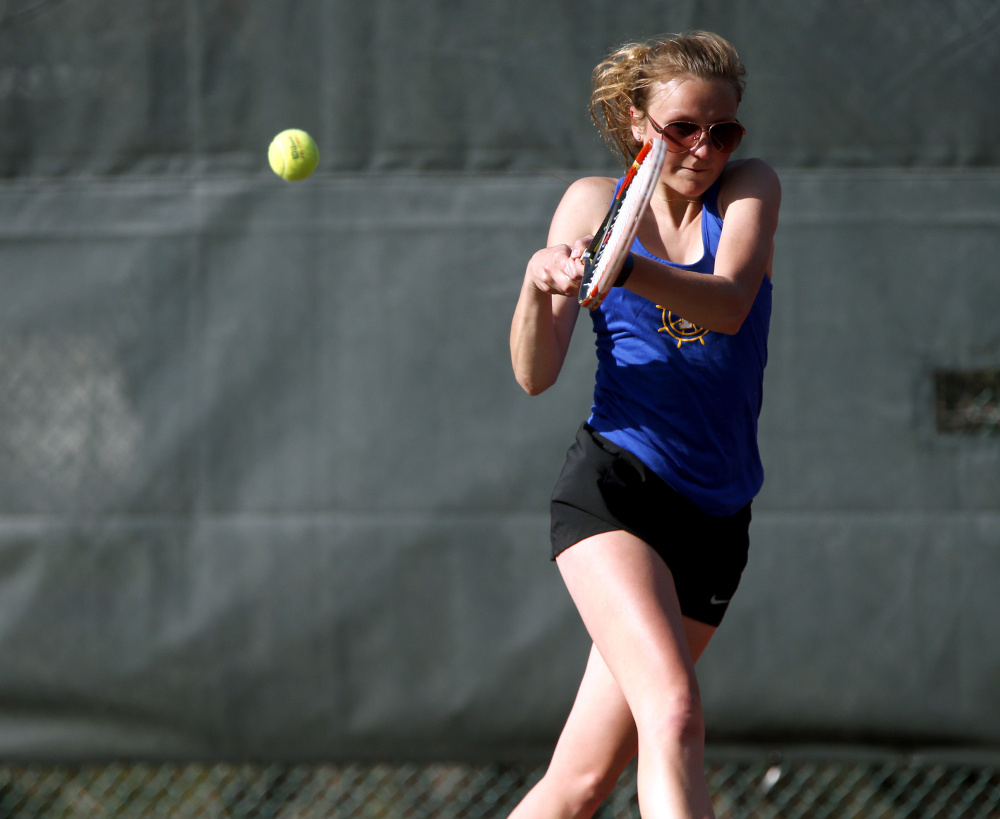 After three years playing doubles for a Class A state championship team, senior Amanda Watson finally got her turn at singles Friday. She beat Emelie Jarquin of Cape Elizabeth 6-1, 6-4 at No. 3 singles in the clinching match of a 4-1 girls' tennis victory. Falmouth has won 142 straight matches – including nine state titles – since the spring of 2008. Because of rainouts, Friday was the opener for both teams.