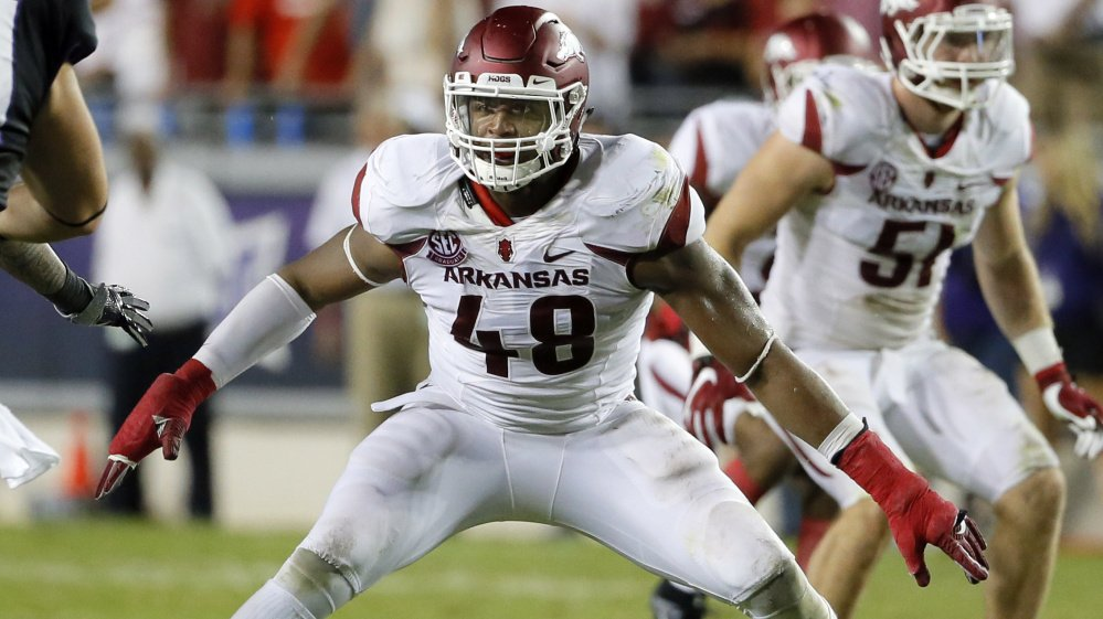 Arkansas defensive end Deatrich Wise Jr. was selected Saturday by the New England Patriots with the 131st overall pick. Wise is 6-foot-5 and weighs 275 pounds. New England added four players in the seven-round draft.