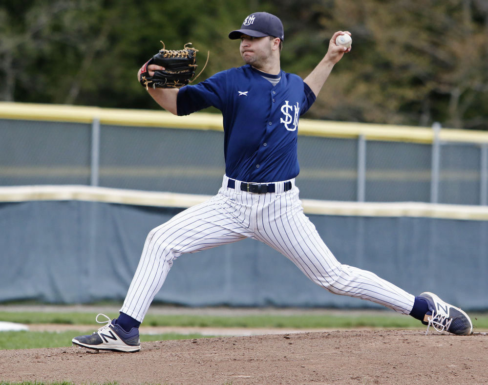 Tyler Leavitt pitched 6  innings, allowing one run on five hits while striking out four, to lift Southern Maine to a 4-1 win over Western New England College on Sunday in Gorham. Staff photo by Jill Brady