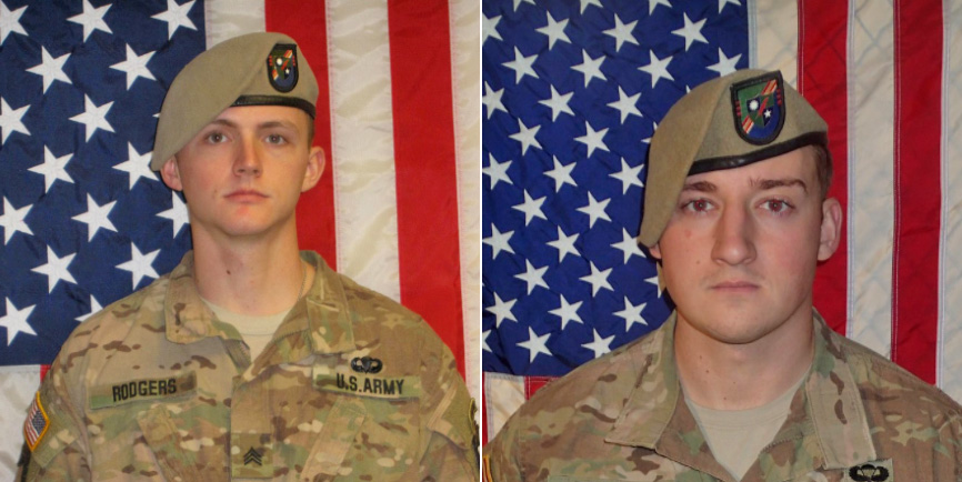 Sgt. Joshua P. Rodgers, 22, left, and Sgt. Cameron H. Thomas, 23, were killed in Afghanistan on Wednesday.