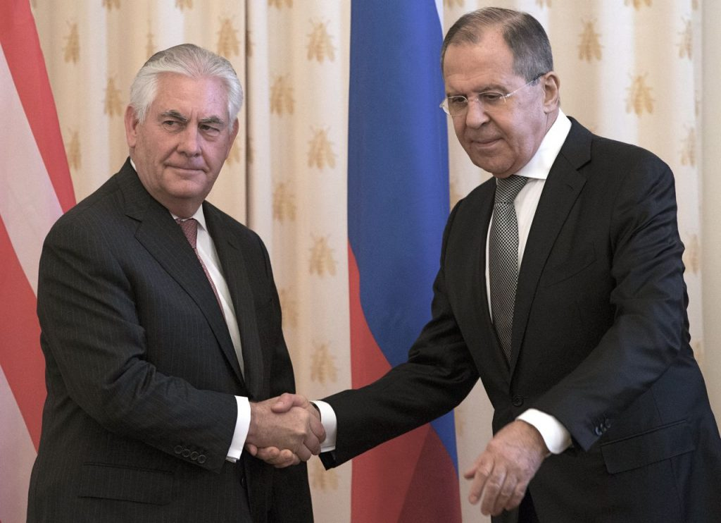 U.S. Secretary of State Rex Tillerson and Russian Foreign Minister Sergey Lavrov shake hands prior to their talks in Moscow Wednesday
