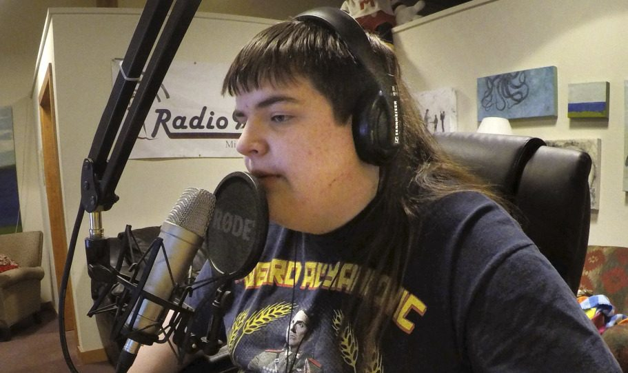 Chaz Wing records the weather at a radio station in Brunswick. He testified he was raped three times in junior high.