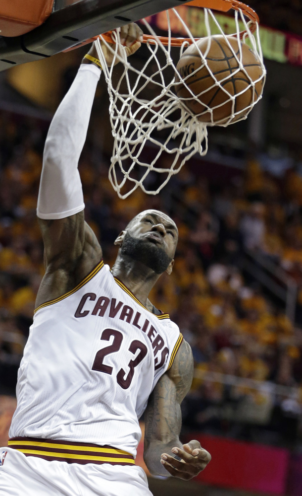 LeBron James scored 35 points as the Cavaliers, playing for the first time since April 23, cruised to a win over Toronto on Monday.