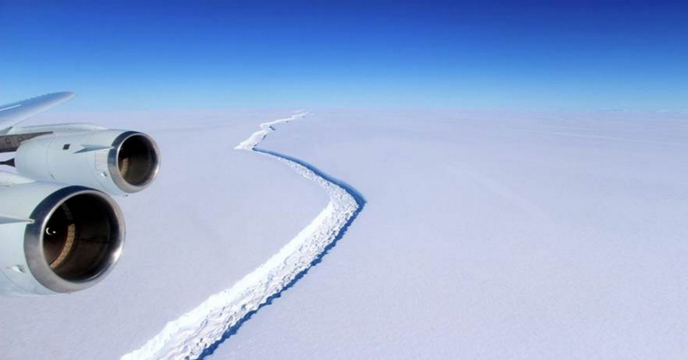 A huge crack in the Larsen C ice shelf – one of Antarctica's largest ice shelves – is closely monitored by scientists. A section potentially containing 2,000 square miles of ice is in danger of breaking off, scientists say.