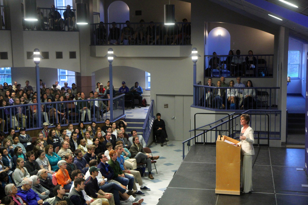 Former Acting U.S. Attorney General Sally Yates speaks on Wednesday night at Colby College in Waterville.