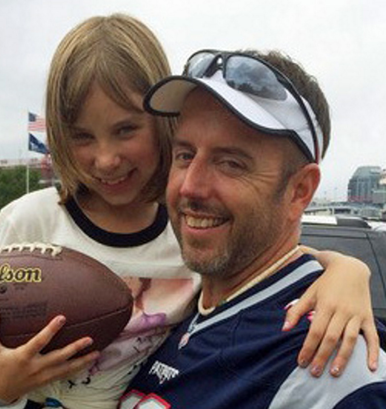 Darren Cook with his daughter, Skylar Cook. Mr. Cook died Saturday after a sudden illness. He was 45 years old.
