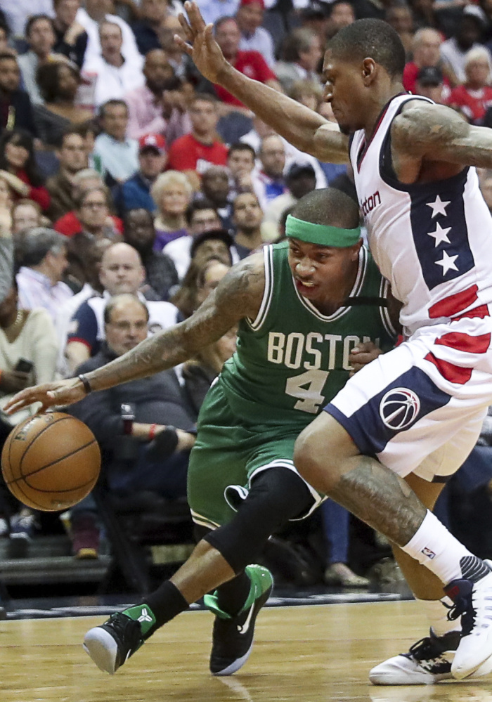 Isaiah Thomas scored 53 points for Boston in Game 2 but was held to just 13 points in the Celtics' loss in Game 3, thanks to a ferocious defense effort by the Wizards.