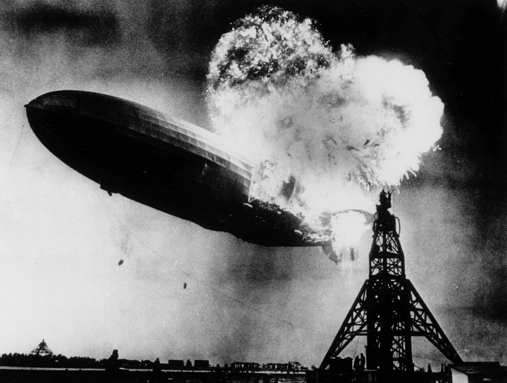 May 6, 1937 photo provided by the Philadelphia Public Ledger was taken at almost the split second that the Hindenburg exploded over the Lakehurst Naval Air Station.