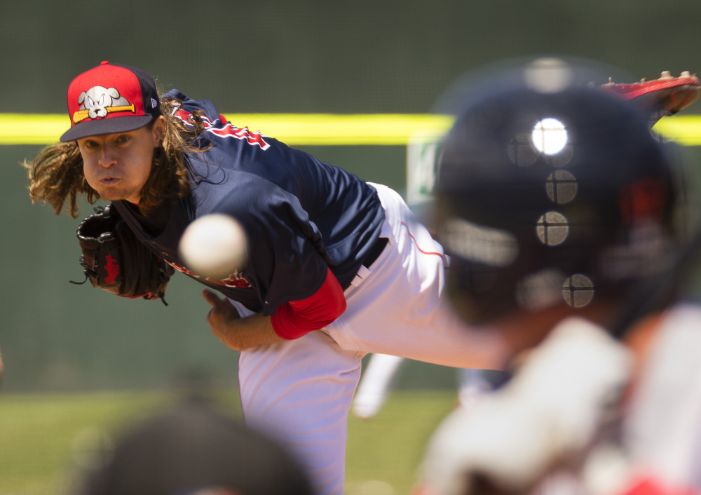 Sea Dogs starting pitcher Trey Ball allowed just one earned run in six innings Sunday and left with an 8-3 lead, but the Reading Fightin Phils rallied for a 13-8 win.