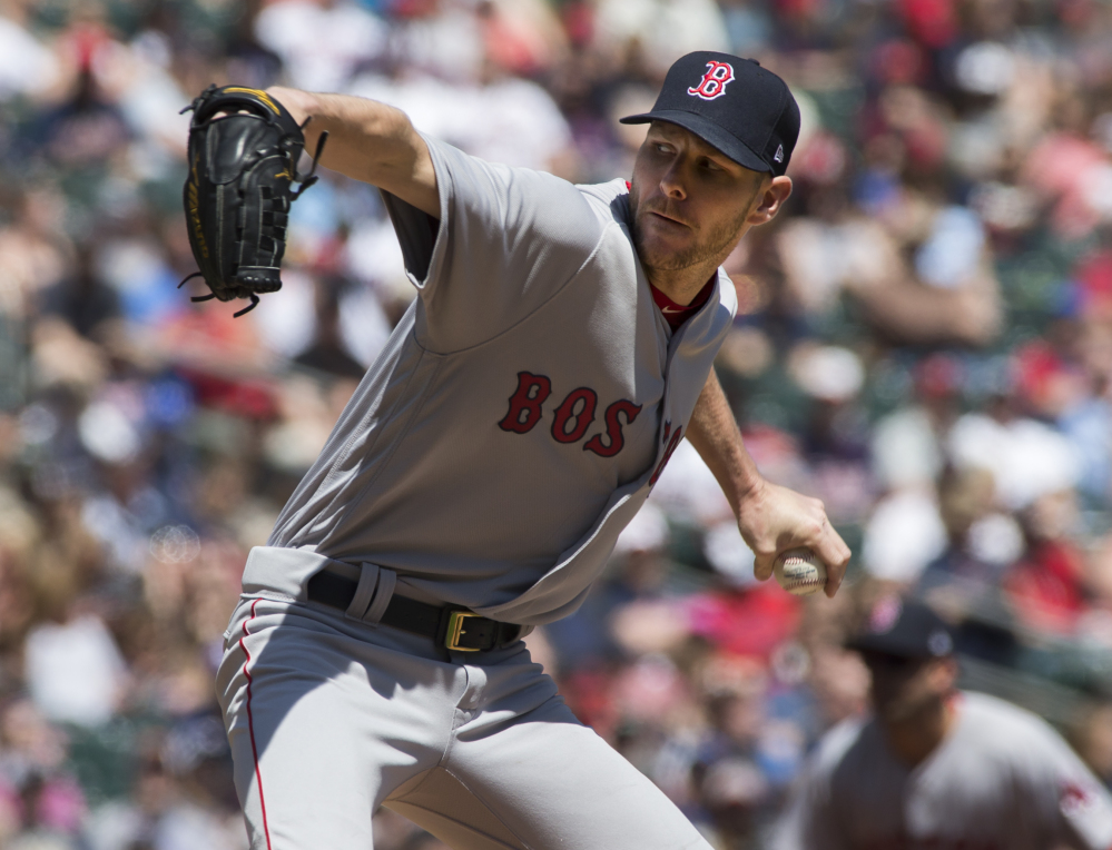 Red Sox starting pitcher Chris Sale allowed four runs on four hits while striking out 10 and walking three in Boston's 17-6 win over Minnesota on Sunday in Minneapolis.