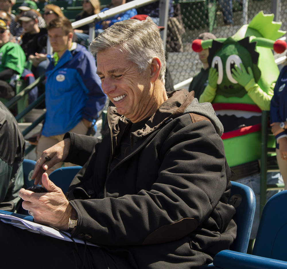 Red Sox President of Baseball Operations Dave Dombrowski is impressed by the Portland Sea Dogs' bullpen.