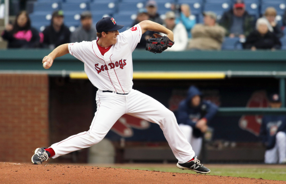 Sea Dogs starting pitcher Teddy Stankiewicz delivers a pitch during Portland's 6-5 win over Binghamton on Tuesday at Hadlock Field.
