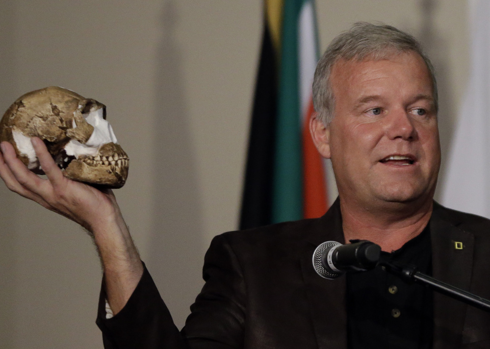 Lee Berger of Wits University in Johannesburg announced on Tuesday a creature both human-like and primitive co-existed at the same time as early humans. Associated Press/ Themba Hadebe