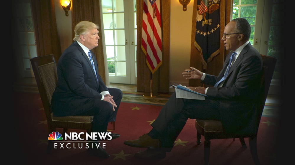 In this image provided by NBC News, President Trump is interviewed by Lester Holt on Thursday. Trump insisted during the interview that there was