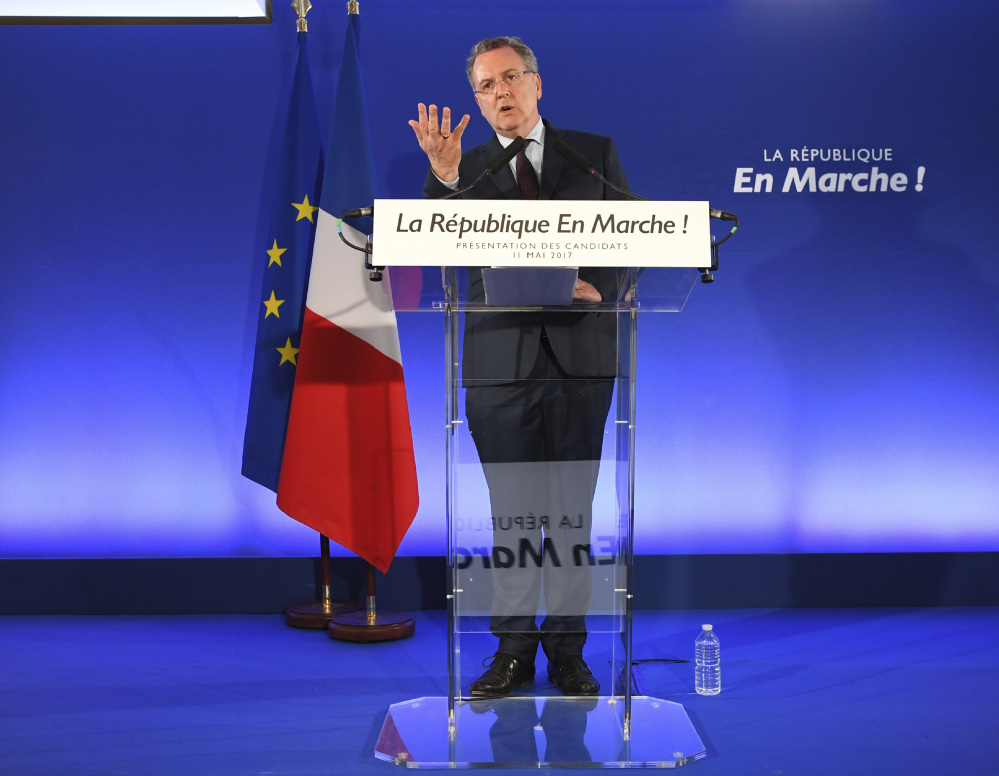 Richard Ferrand secretary-general of the Republic on the Move party holds a news conference in Paris on Thursday