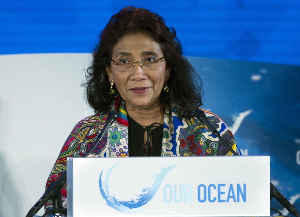 Susi Pudjiastuti, Indonesia's minister for fisheries and maritime affairs, has won plaudits from American conservationists for ordering her country to seize and destroy foreign fishing vessels in the vast Pacific and Indian ocean waters that the nation claims at its own.