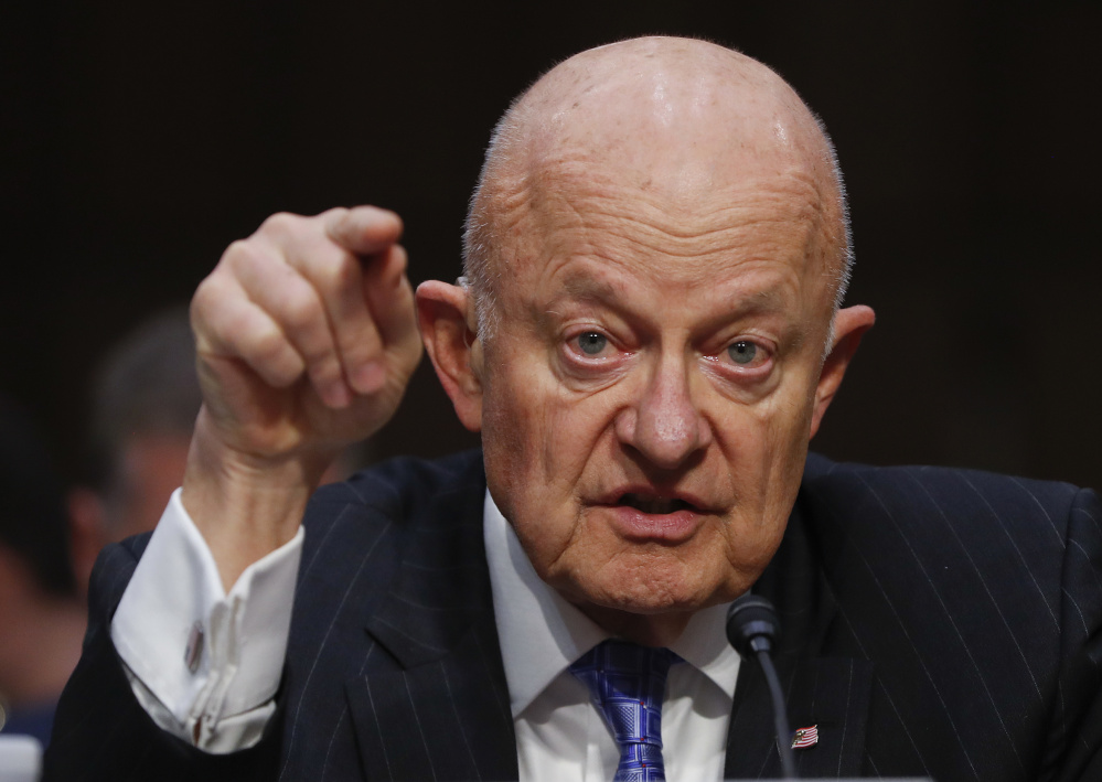 Former National Intelligence Director James Clapper testifies May 8 before the Senate Judiciary subcommittee on Crime and Terrorism hearing: