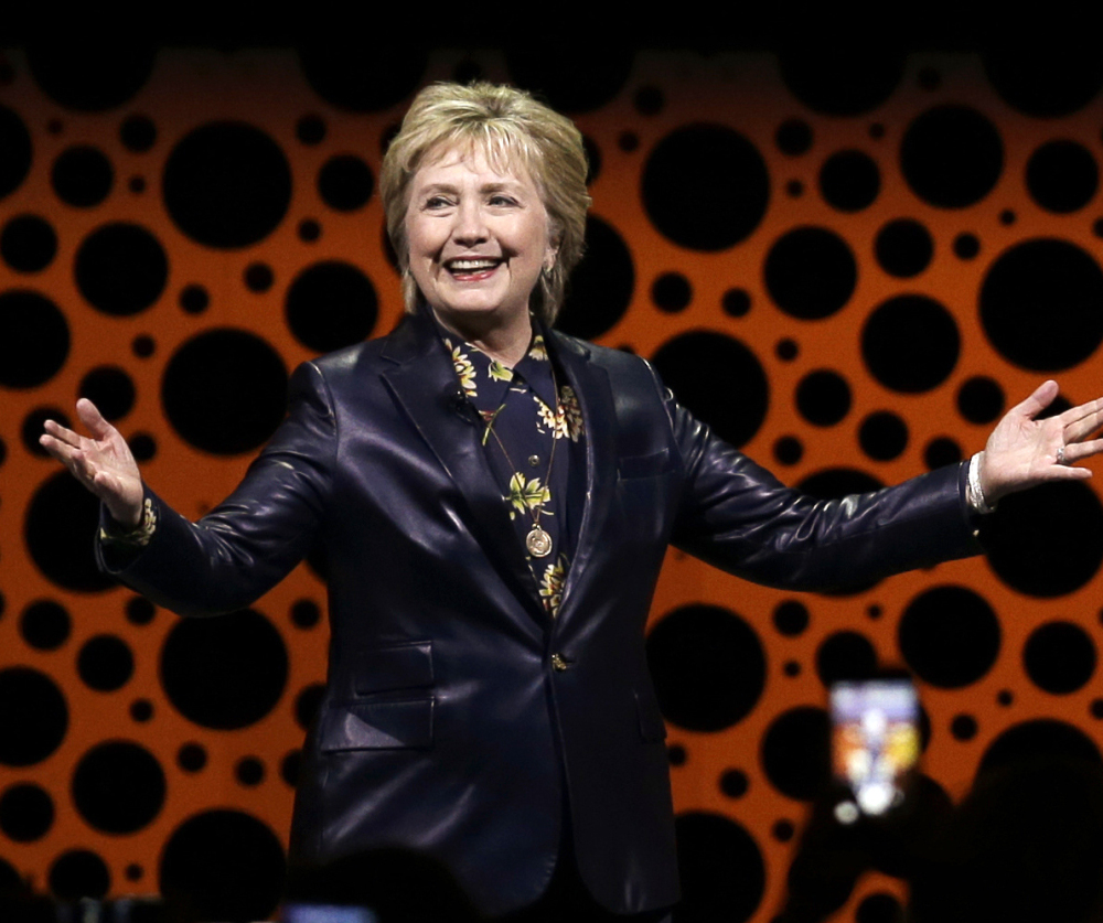 Former Secretary of State Hillary Clinton gestures while speaking before the Professional Businesswomen of California in San Francisco in March.