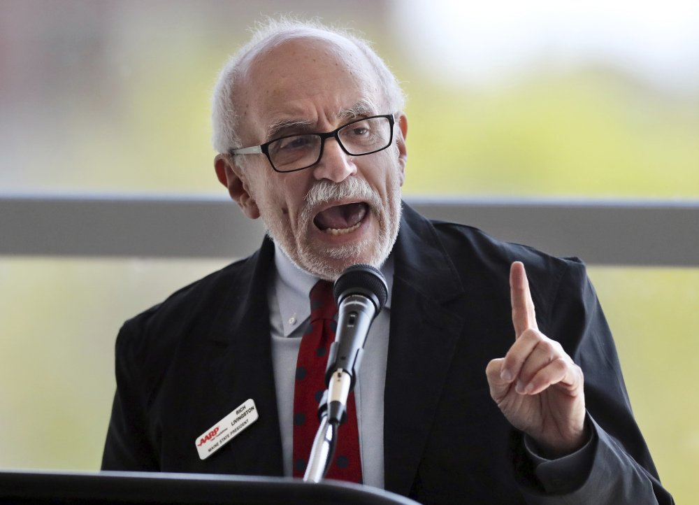 Rich Livingston, the volunteer state president with the American Association of Retired Persons, voices his opposition to proposed changes to the state's Medicaid program during a public hearing Wednesday in Portland.
