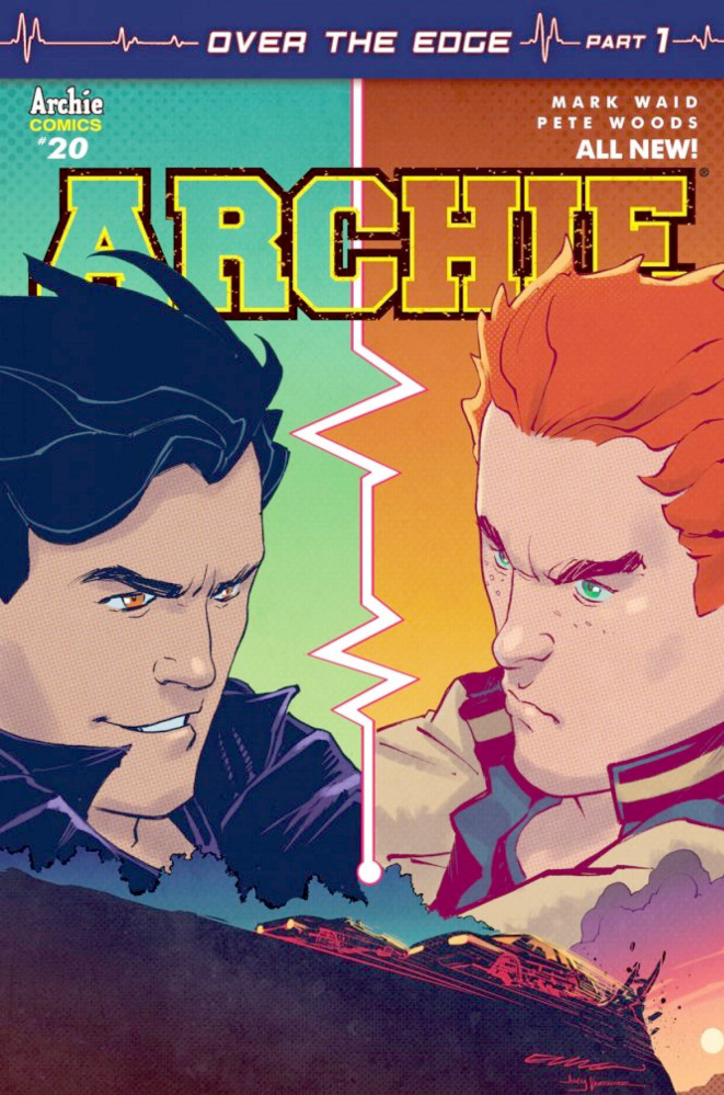 The cover of Archie no. 20 which will feature a car race between two main characters.