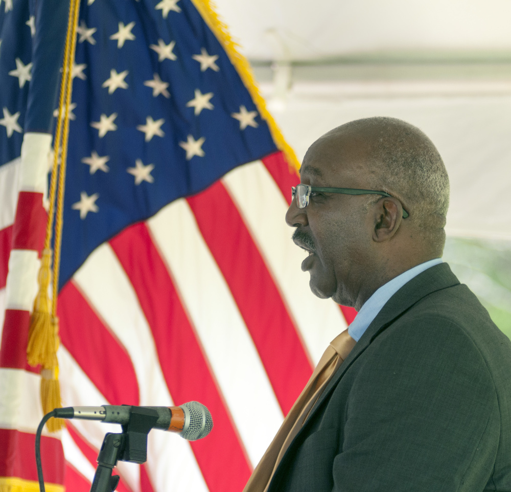 Staff photo by Joe Phelan Bill Burney, field officer director for the U.S. Department of Housing and Urban Development, speaks before ground breaking on Friday at VA Maine Healthcare Systems-Togus.