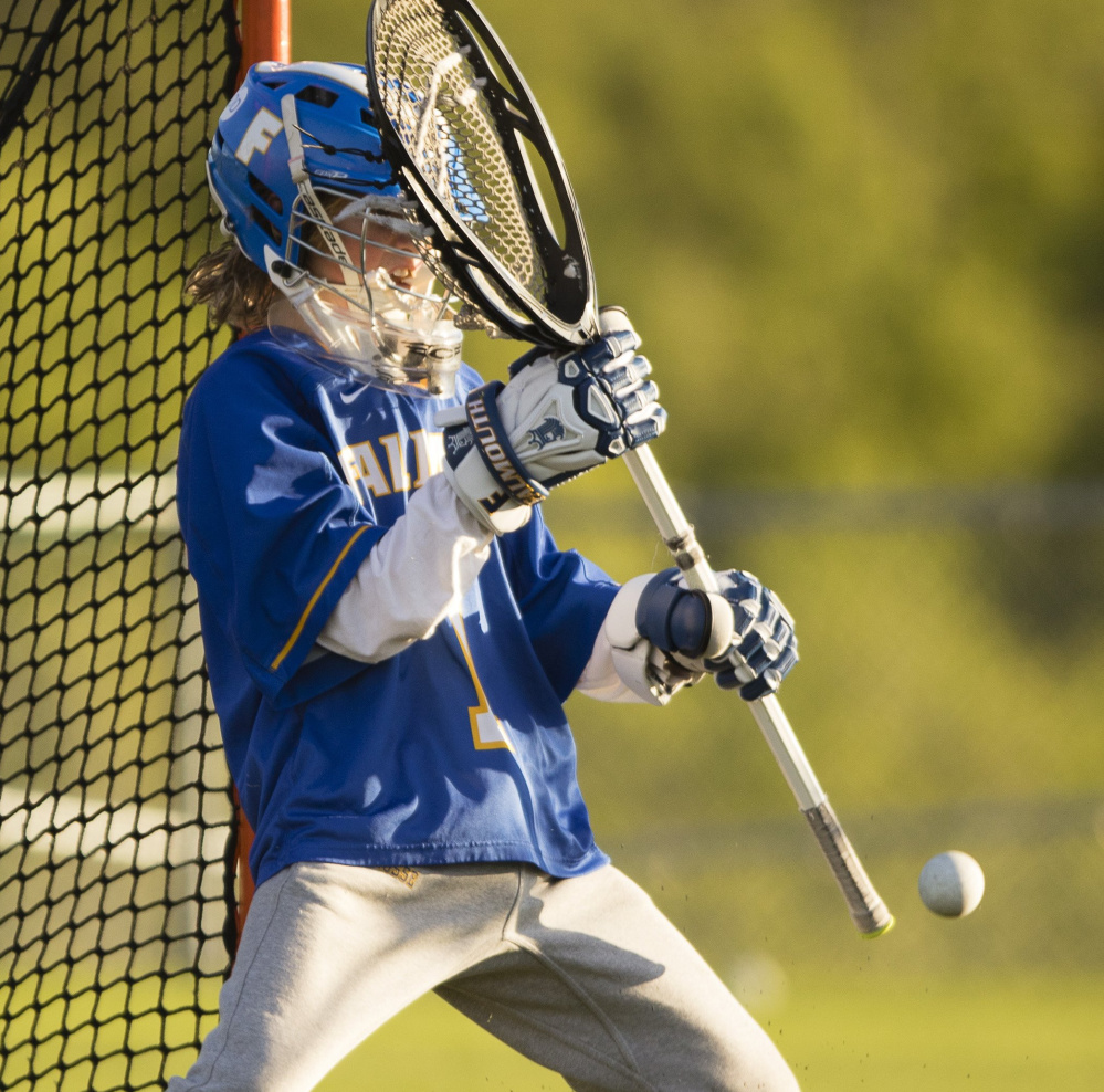 Falmouth goalie Liam Tucker helped the Yachtsmen win the Class B state championship in 2016 and is one of the reasons why the Yachtsmen are strong contenders again this season.