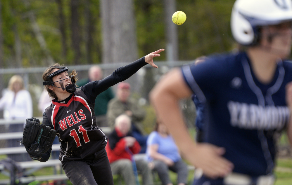 Anya Chase of Wells throws out a Yarmouth batter Tuesday.
