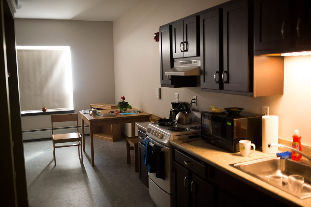 The efficiency apartments at Huston Commons are equipped with the basics. Avesta Housing and Preble Street will celebrate the opening of Huston Commons on Tuesday.