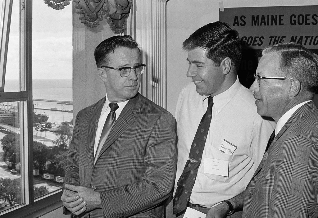 Neil Rolde, center, was a Maine delegate to the Democratic National Convention in August 1968. He's shown here in a Chicago hotel room before the convention's opening session. With him is fellow delegate Floyd Harding, a state senator from Presque Isle, left, and alternate delegate Owen Hancock of Casco.