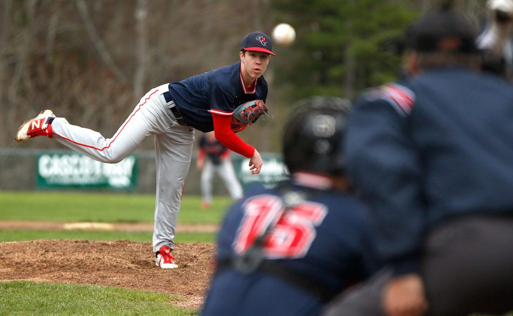 Gray-New Gloucester pitcher Josiah Rottari throws against Yarmouth on Monday. The Patriots gave Rottari just one run as Gray-New Gloucester lost yet another close game.