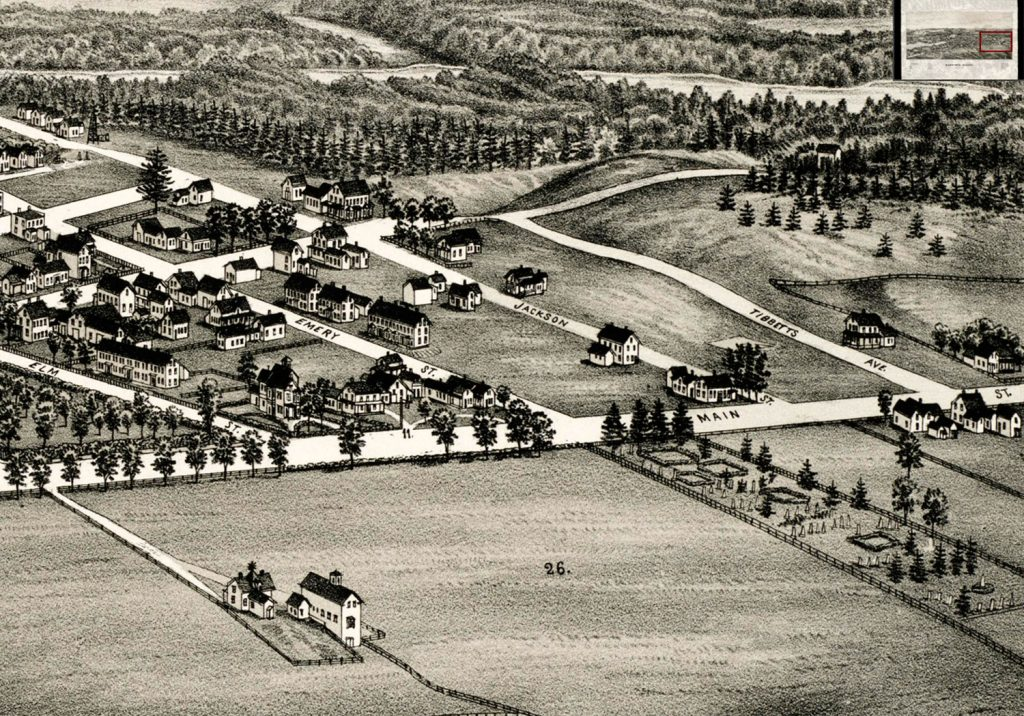 A detail of a bird's-eye view image of Sanford from 1889 shows Woodlawn Cemetery, right front.