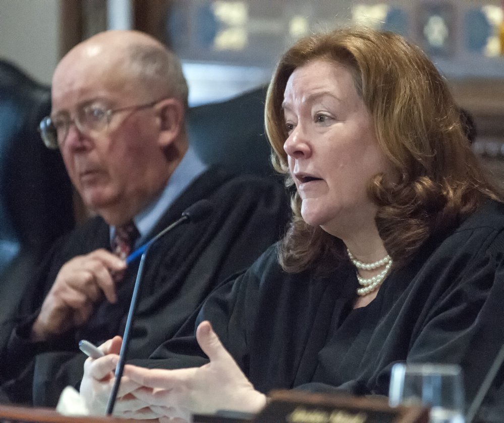 Chief Justice Leigh Saufley, shown at a session in May, says the Maine Supreme Court will have to decide whether language is too vague in the law on providing food stamp assistance to non-citizens.