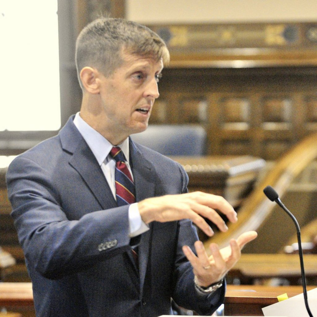Attorney Walter McKee argues Wednesday on behalf of former Anson treasurer Claudia Viles, who was convicted in 2016 of stealing more than $500,000 from the town. McKee, who presented his arguments before the Maine Supreme Judicial Court, argued that the state did not provide enough evidence at trial to support the conviction.