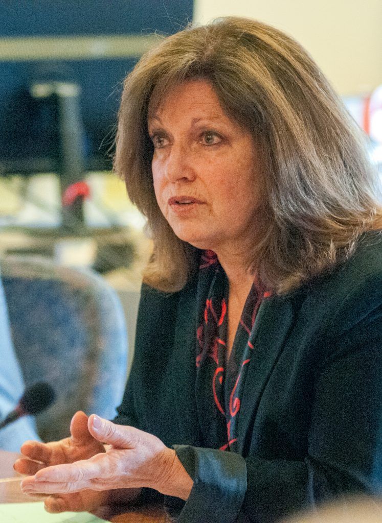 Maine Sen. Dawn Hill, D-York, asks Gov. Paul LePage a question during a special work session on a bill to strip the governor of the power to approve staff pay raises at the Attorney General's Office, on Tuesday in the State House in Augusta.