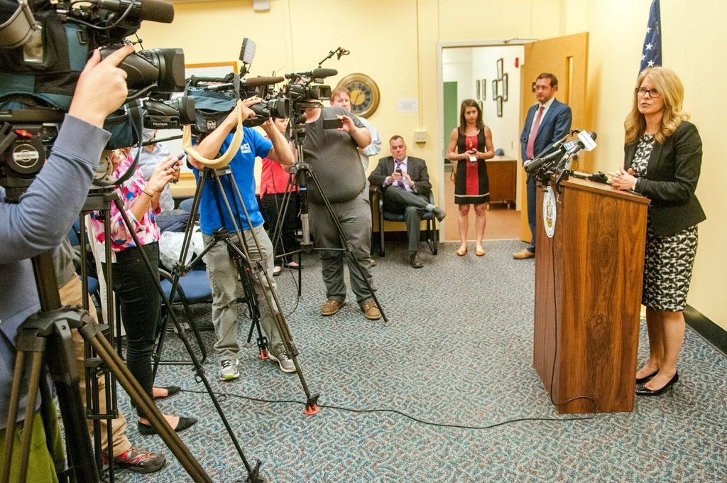 Health and Human Services Commissioner Mary Mayhew took no questions during the brief news conference about her departure from the DHHS on Wednesday in Augusta.