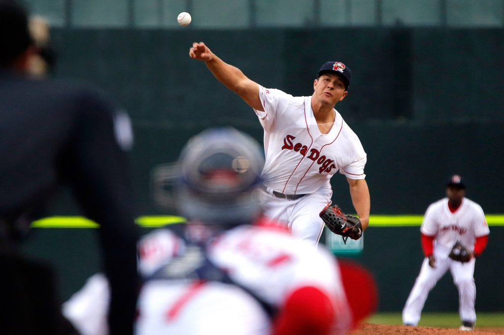 Portland pitcher Kevin McAvoy throws one across the plate in Monday night's game. McAvoy had his first scoreless outing in 27 Double-A starts, but the Sea Dogs gave up two runs in the ninth inning and lost 2-0 to the Binghamton Rumble Ponies.
