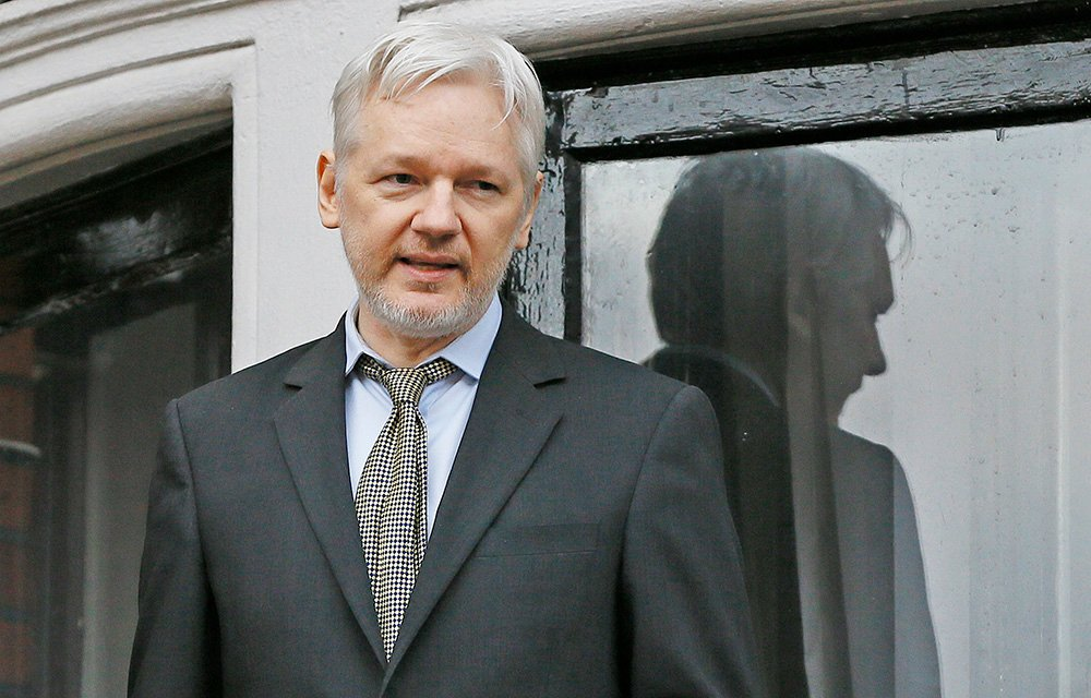 WikiLeaks founder Julian Assange speaks from the balcony of the Ecuadorean Embassy in London on  Feb. 5, 2016.